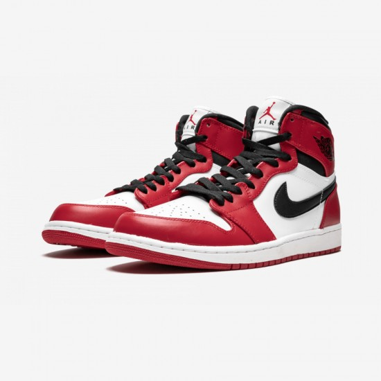 """Air Jordan 1 Retro High """"Chicago"""" 332550 163 Red Leather White/Varsity Red-Black Basketball Shoes"""