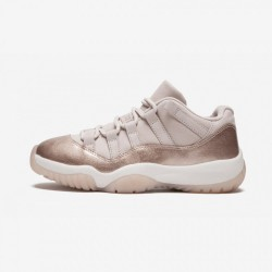 """Air Jordan 11 Womens Retro Low """"Rose Gold"""" AH7860 105 Pink Leather And Rubber Sail/Mtlc Red Bronze Basketball Shoes"""