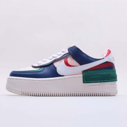 """Nike Air Force 1 Shadow """"Mystic Navy"""" Running Shoes AF1 CI0919 400 Unisex Mystic Navy/White-Echo Pink-Gym Red Sneakers"""